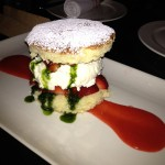 Strawberry shortcake with basil syrup