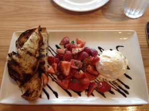 Strawberry & mint salad with housemade ricotta and lavender honey